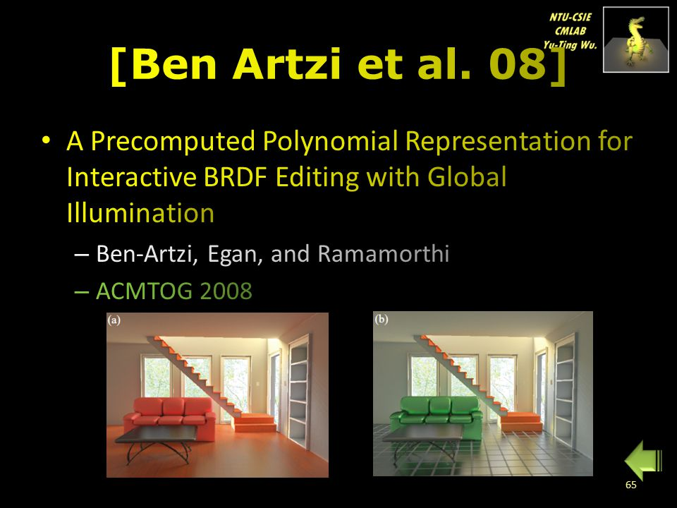 [Ben Artzi et al. 08] A Precomputed Polynomial Representation for Interactive BRDF Editing with Global Illumination.